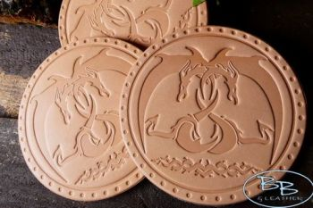 Leather patches dragons embrace in natural leather by beaver bushcraft