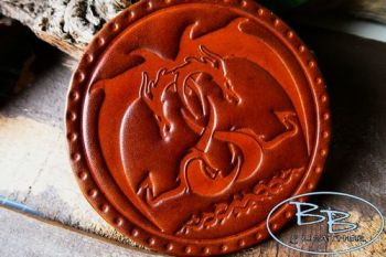 Leather patch entwined dragons hand dyed by beaver bushcraft