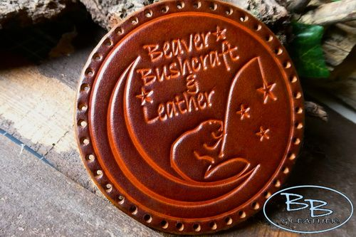 Free - Natural Leather Patch - 'Beaver Moon Fishing For Stars' - Hand Craft