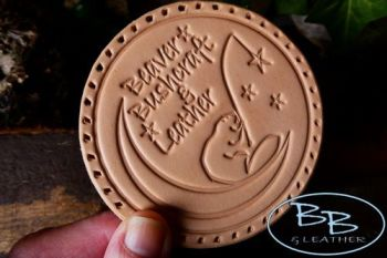 FREE£150+ - Natural Leather Patch - 'Beaver Moon Fishing For Stars' - With Holes