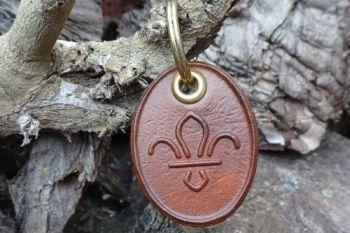 FREE50+ Leather Key Ring - 'Fleur-De-Lis' - Handmade - Hand Dyed