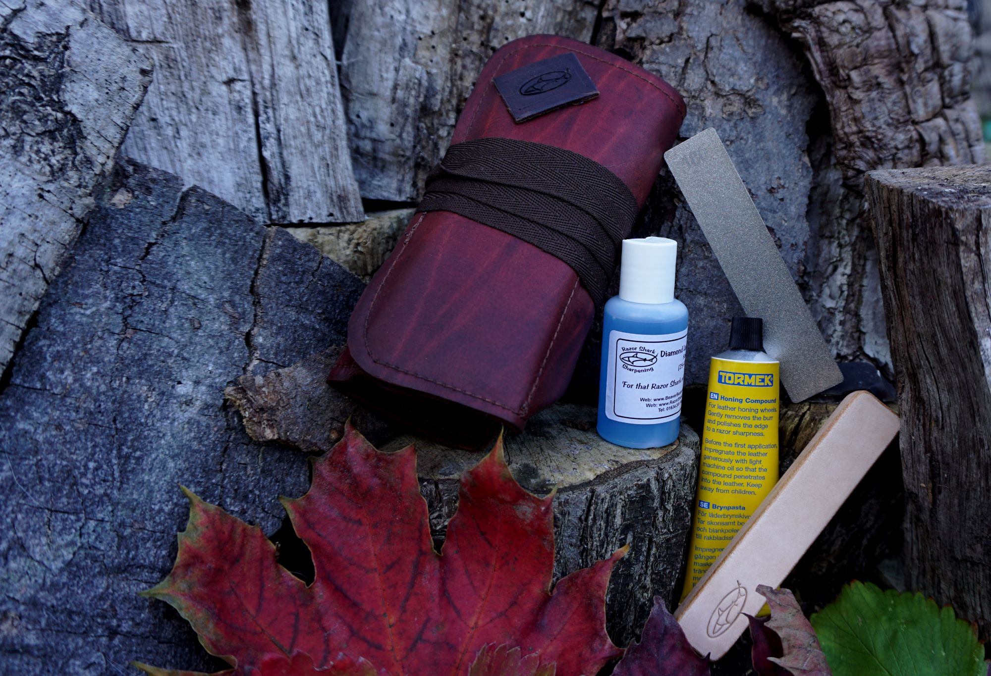 Field Sharpening Kit with Leather Tool Roll