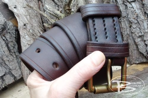 Leather 801 hand crafted leather belt by beaver bushcraft