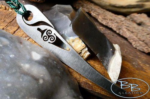 'Tinder Dibber' Fire Steel Pendant /Striker Triskele Sword Detail - 'Flint