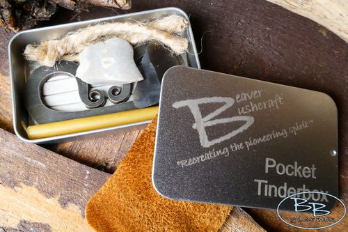 Fire pocket tinderbox open with contents by beaver bushcraft 58 3705