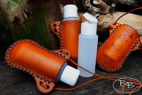 Hand Stitched Mini Leather 'Bottle Holder' + Refillable Plastic Bottle