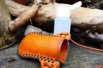 Leather hand gel bottle holder hand stitched by beaver bushcraft