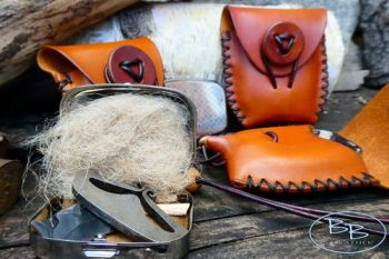 Fire lighting hand sized leather tinderbox with handy fire kit by beaver bu