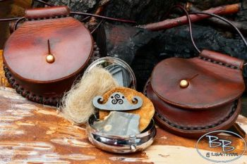 Fire & leather round tinderboxes with flint &steel strikers by beaver bus