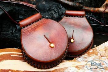 Fire & leather round tinderbox neck sheath hand crafted by beaver bushcraft