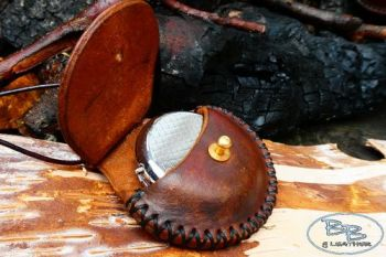 Fire & leather round tinderbox neck sheath hand crafted open by beaver bush