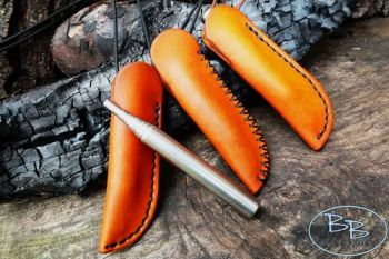 Leather & Fire crossed stitched stubby sheaths made by beabver bushcraft