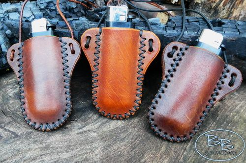 Fire & leather sheath for clipper lighter made by beaver bushcraft