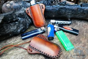 Fire and leather hand crafted sheath for clipper lighter made by beaver bus