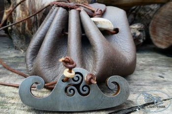 fire and leather viking tinder belt pouch made by beaver bushcraft