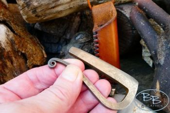Fire & leather neck sheath for elegant R shaped fire steel made by beaver b