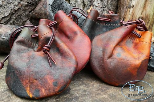 Leather painted effect tinder pouches all different by beaver bushcraft