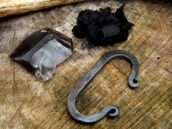 HAND FORGED by Bethel Forge - Traditional 'C' Shaped 3 Fingered Fire Steel (85-1255) + Flint