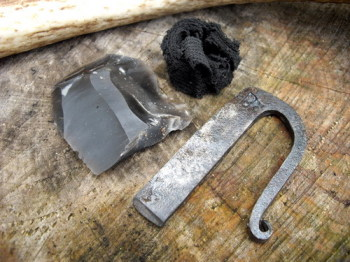 HAND FORGED by Bethel Forge - Traditional  'U' Straight Tang Fire Steel (85-1210) + Flint