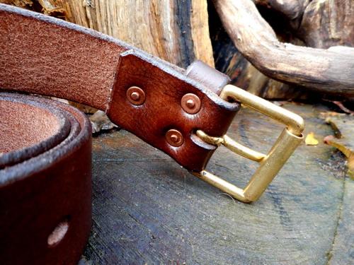 leather-belt-211-3 x copper riverts