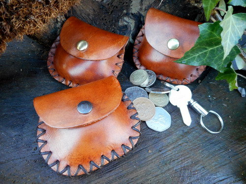 leather-soft mini pocket pouch-rustic-x 3 with coins and keys