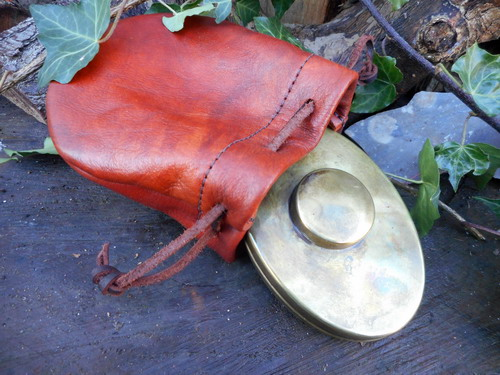 leather-soft hudson bay tiner pouch-rusticwith vintaged Hudson Bay in Brass