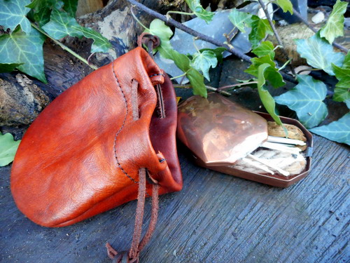 leather-soft hudson bay tiner pouch-rusticwith copper trappers jpg