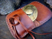 BESPOKE - Leather 'Pioneers' Hudson Bay Tinderbox Pouch - Hand Cross Stitched (45-1020)