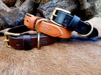 HAND STITCHED - Leather Dog Collar with Solid 'Brass' Buckle & D Ring (45-9150)