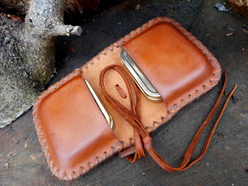 leather-hard-the pocket pioneers tinder pouch double sided.open jpg