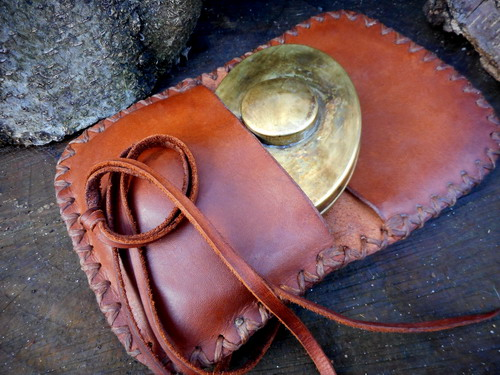 Leather-hard-hudson bay pioneers pouch open with hudsonbay