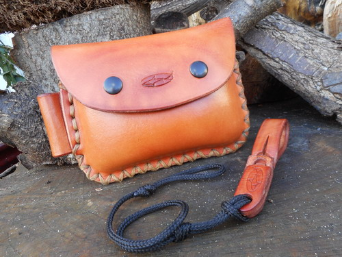 Leather-hard-2oz possibles pouch landscape with x stitch and fire steel loo