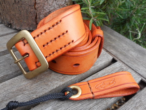 leather-belt 306 saddle tan with matching belt loop