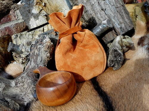 leather-bean bag possibles pouch with kuksa cup rusy gold
