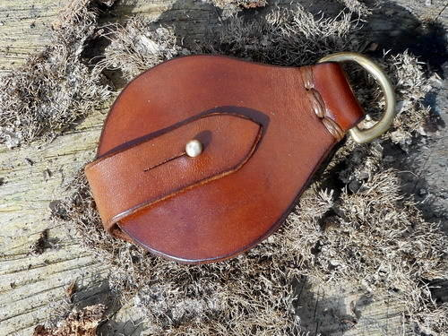 fire-solar pendant with brass D ring wallet style