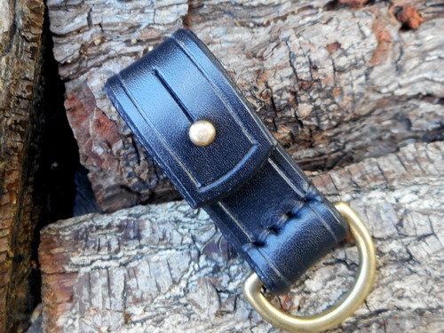 Leather-belt loop D ring black sam browne front view
