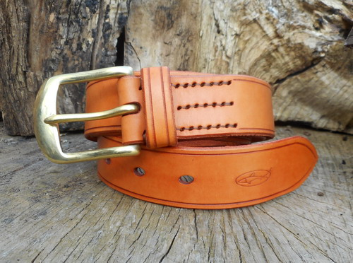 leather-501 belt-hand stitched-saddle tan.folded jpg