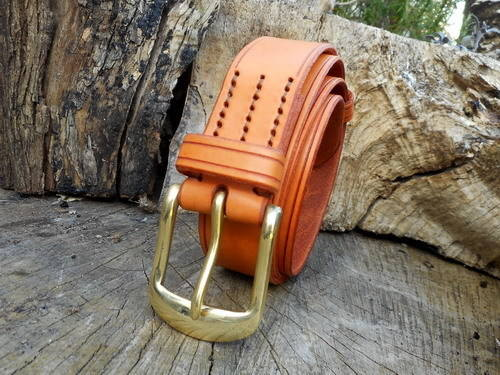 leather-501 belt-hand stitched-saddle tan.rolled jpg