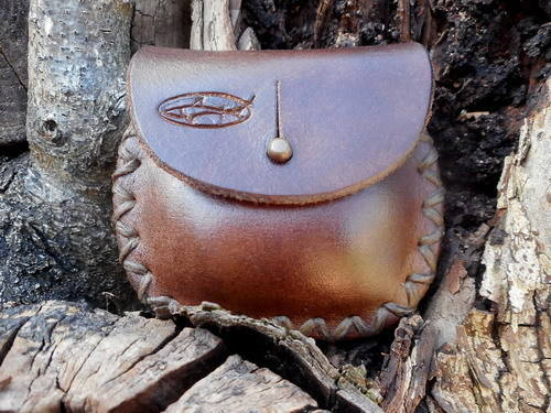 leather-mini pocket posiibles pouch-brown-cross stitched-sam browne