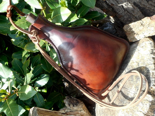 Hand Made Peasant Style Leather Drinking Bottle/Flask