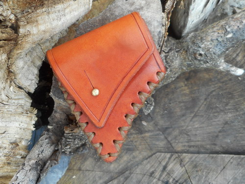 leather-axe sheath-saddle tan-cross stitched