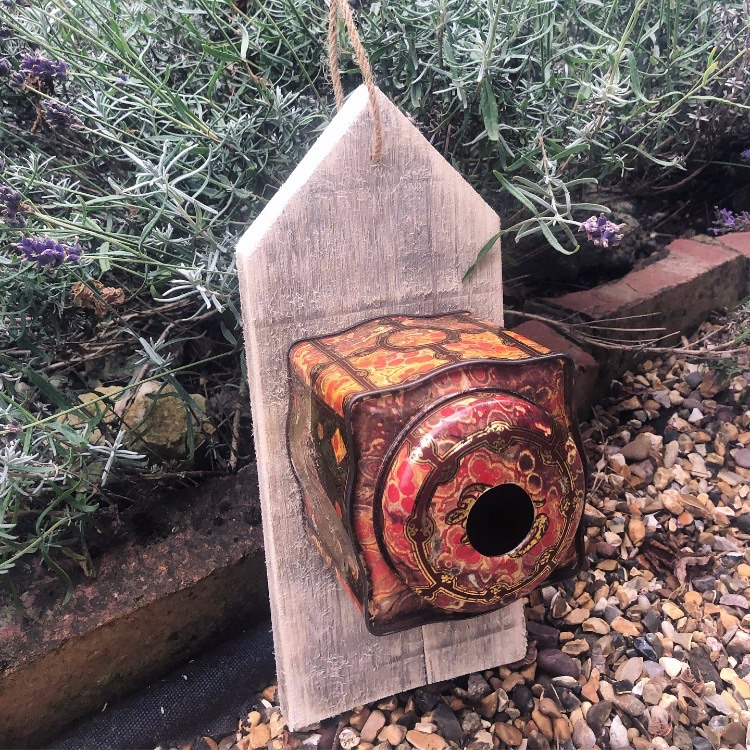 Vintage Coffee tin Birdhouse or feeder