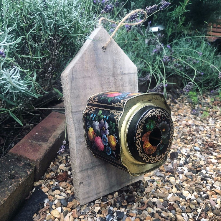 Vintage floral tin birdhouse or feeder