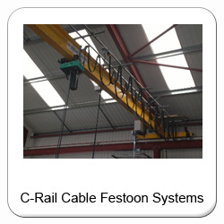 Buy c-rail festoon cable systems online.  Power feed/supply systems, remote pendant and power & pendant systems