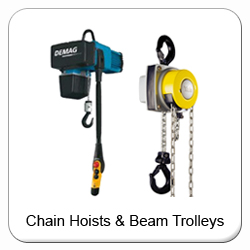 Buy hand chain hoists, electric chain hoists and beam trolleys online.  Including Yale, Stahl, SWF, Demag & CM