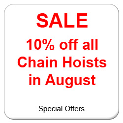 Sale on all manual chain hoists and electric chain hoists.  Including Yale, Stahl, Demag, SWL and CM