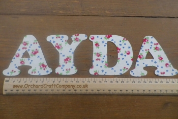 Iron On Fabric Uppercase Letters and Numbers 7.5 cm (3 Inch ) Floral Print