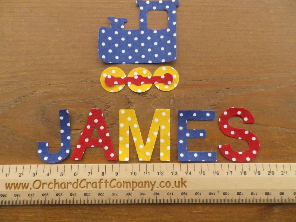 TRAIN Set, Iron On Fabric. Personalised Choice of Name up to 7 letters (No