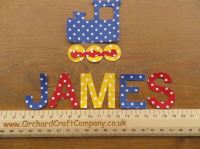 TRAIN Set, Iron On Fabric. Personalised Choice of Name up to 7 letters (No Sew)