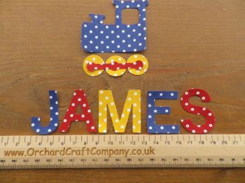 Train Set - Iron On Fabric, Personalised Choice of Name up to 7 letters (No Sew)